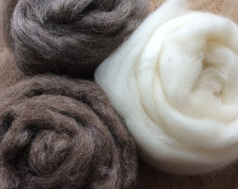 Natural Brown Grey and White British Wool Roving, tops Pack for Felting and Craft.