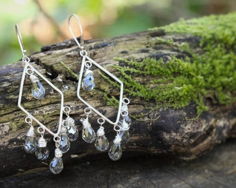 Crystal chandelier earrings with sterling silver