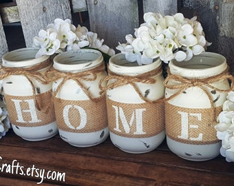 Rustic Home Mason Jars. Farmhouse Decor. Primitive Decor. Mason Jar Centerpieces. Housewarming Gifts. Wedding Centerpieces.
