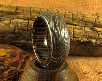 Damascus steel and Black Palm Ring