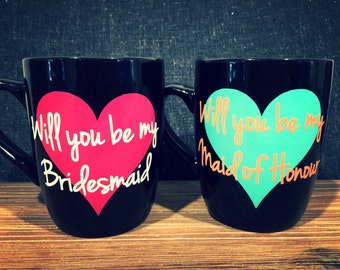 DIY will yo be my Bridesmaid/Maid of Honour coffee mug sticker (decal)
