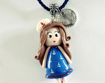 Necklace doll girl with the Blue style dress sailor