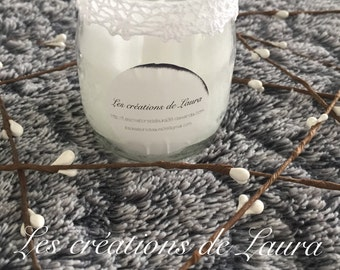 Candle scented white lace has vanilla