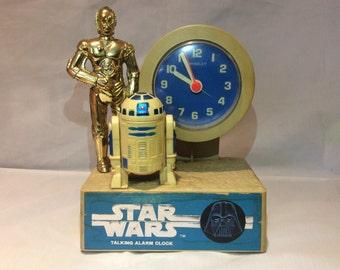 StarWars Talking C3PO and R2D2  vintage Talking Alarm clock from 1977