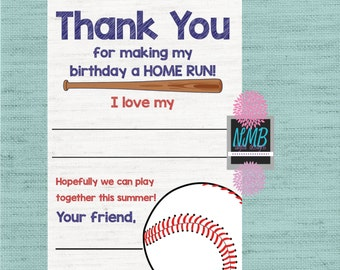 Baseball Thank You 4x6