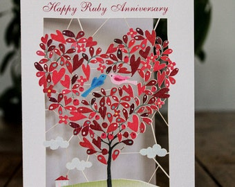 Ruby Anniversary Laser Card