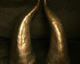 Dragon Horns // Old Gold // Satyr Horns // Costume horns // Antiqued