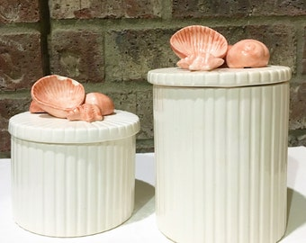 Vintage FITZ & FLOYD (2) Pink Coquille Seashell Trinket Boxes Sea Shells