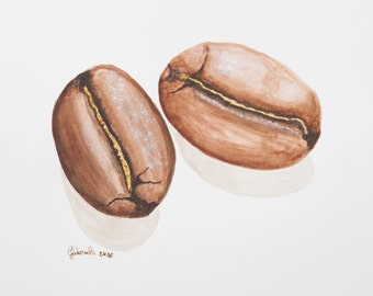 Watercolor print by me made, coffee beans