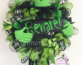 Frankenstein Wreath - Halloween Wreath - Halloween Decor - Scary Door