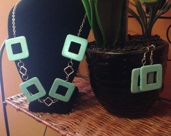 Turquoise square necklace, bracelet and earring set