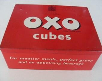 Retro Oxo Cube Advertising Tin Red Vintage Oxo Cubes Storage Tin Box