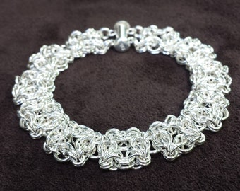 Chainmail Celtic Labyrinth Bracelet - Sterling Silver
