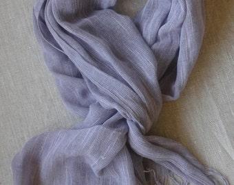 Blue Linen Scarf, Purple Linen Shawl, Scarf for Women, Violet Evening Wrap
