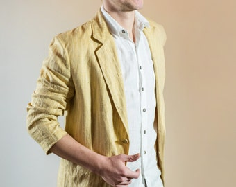 Men's Linen Jacket, Men's Linen Blazer, Plus Size Men's Linen Jacket, Summer Jacket