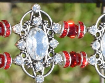 """Beaded Horse Browband The Scarlet Browband  """"The Scarlet"""" #0200"""