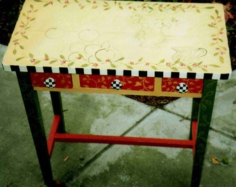 Matisse table, hand painted occassional table, hand painted furniture