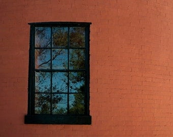 Photo Print - Window Reflection Photo - Reflection Photos - Lighthouse Decor - Red Brick Wall
