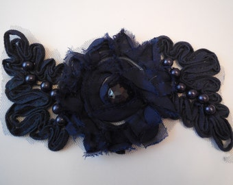 Navy chiffon beaded fabric floral lace applique / navy beaded lace motif is for sale. Sold by per piece.
