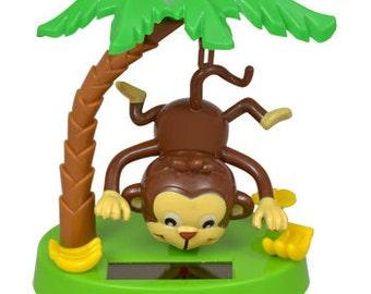 Solar-Powered Animated Dancing Toys Swinging Bear or Monkey Toy Palm Tree Hammock Swinging Tire