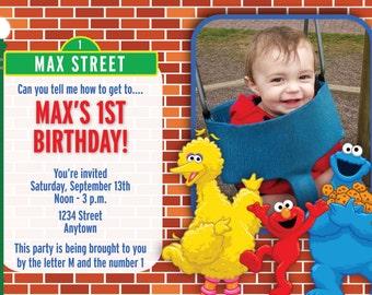 Sesame Stree Birthday Invite
