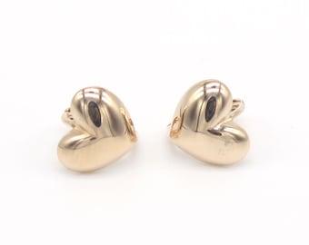 14k Solid Rose Gold Hoop Earrings 6915 Charming Heart Design Lovely
