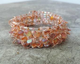 Memory Wire Bracelet. Memory Wire Wrap Bracelet. Czech Lentil Bead Bracelet. Beaded Bracelet. Cuff Bracelet. Coil Bracelet. Stacked Bracelet