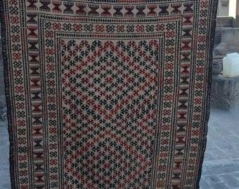 5'11 x 3'8 Beautiful Afghan Handmade Vintage Adraskan Kilim Sumik kilim