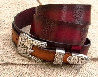 Leather belt, Country Western belt, Hippie, Womens leather belt, Celtic hearts, Top quality vegetable tanned leather