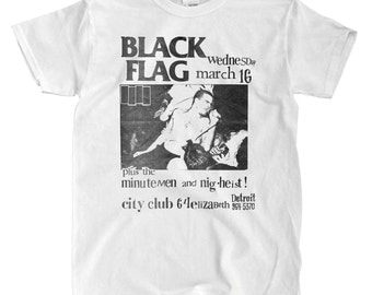 Black Flag Detroit Poster White T-Shirt - High-Quality! Ready to Ship!