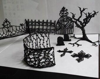 Gothic fairy garden medium sized cemetary set