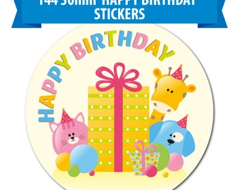 144 30mm Stickers - 'Happy Birthday' Stickers -  A Cute Animal Design for Kids