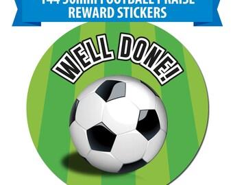 144 x 30mm Football Themed Reward Stickers - Well Done labels Schools, Teachers