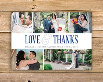 Wedding Thank you Card, photos, pics, love & thanks, printable, instant download
