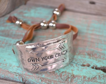 Own Your Crazy Silver Metal Gypsy Bracelet