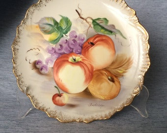 Vintage Signed Andrea by Sadek Plate, Hand Painted Vintage Fruit Plate, Collectible Gold Trimmed Plate, Vintage Kitchen Decor, PL3538