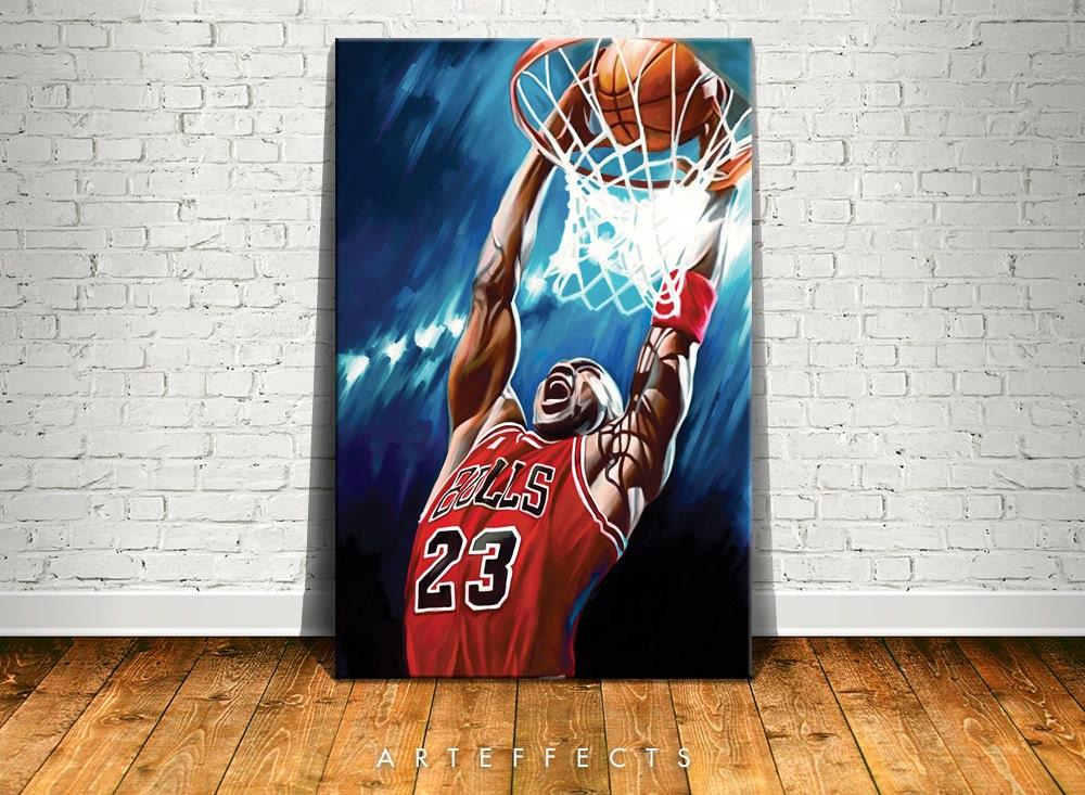 Michael Jordan Artwork: Michael Jordan Canvas High Quality Giclee Print Wall Decor Art