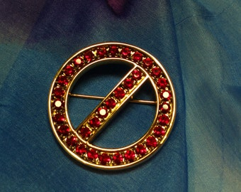 80,s / SIGNED SWAROVSKI / Ruby Brooch / Pin / Swarovski / Crystals / Collectible Jewelry / Designer Signed / Red Stones / No Entry / Sign