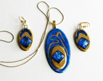 Hand made earrings and matching necklace