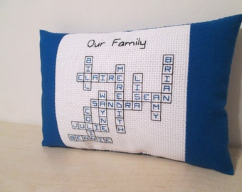 Family Tree Pillow Grandchildren Children Custom Personalized Name Cross Stitch Crossword Puzzle