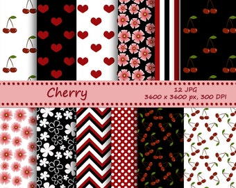Cherry digital paper pack - 12 printable jpeg papers, 3600x3600 px, 300 dpi - Instant download