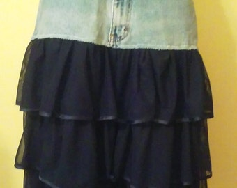 Upcycled jean and navy teired gown bottom skirt