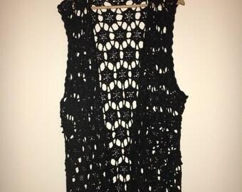 Vintage Black Crochet Festival Waistcoat size 14