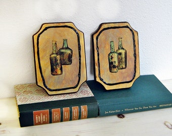 Vintage Paintings, Mid Century Modern, Small Paintings, Original Paintings, On Wood, Set of Two, Wall Art