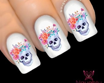 ODETTE Sugar Skull Nail Water Transfer Decal Sticker Art Tattoo Day of Dead NNC-138