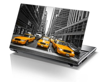 TaylorHe Laptop Skin Sticker Vibrant Yellow Cabs.