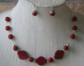 Matte Red Necklace and Earring Set