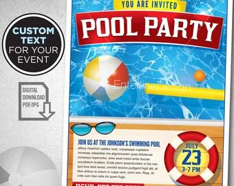 Swimming Pool Party Invitation Template Custom Digital Download