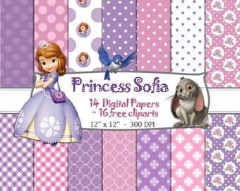 14 DIGITAL PAPER + 16 FREE cliparts Princess sofia the firts, birthday