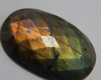 Natural Labradorite Gemstone Faceted Loose Cabochon Oval Shape Coper Power Flash  Size : 31X47 MM Approx Best Quality On Wholesale Price.